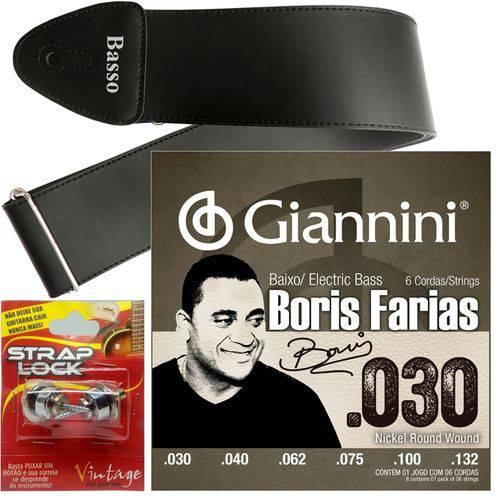 Encordoamento Giannini Baixo 6 Cordas Boris Farias SSBNBF6 + Strap Lock + Correia
