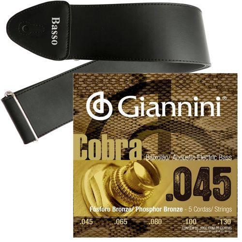 Encordoamento Giannini Baixolão 5 Cordas 045 GEEBASF5 + Correia Basso