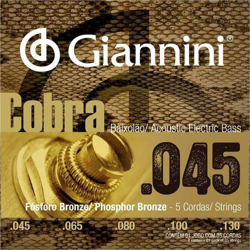 Encordoamento Giannini Baixolão 5 Cordas 045 GEEBASF5 Fósforo Bronze