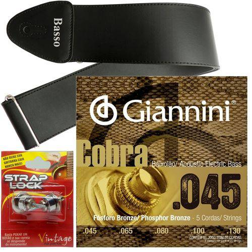 Encordoamento Giannini Baixolão 5 Cordas 045 GEEBASF5 + Strap Lock + Correia