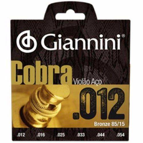 Encordoamento Giannini Cobra P/ Violão 012 Bronze 85/15