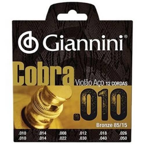 Encordoamento Giannini P Violão Aço 12 Cordas Serie Cobra Geef12m Leve .010 - .050 (Bronze 8515)