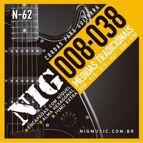 Encordoamento Guitarra Nig N62 0.08 - 0.38 Tradicional