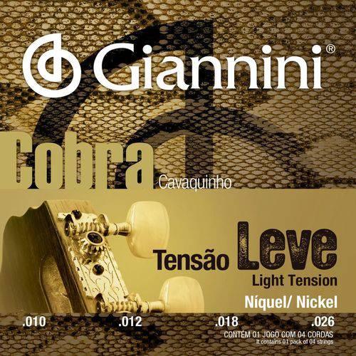 Encordoamento Leve para Cavaquinho com Bolinha, Série Cobra, Revestimento Níquel 0.010-0.026 - Gescl - Giannini