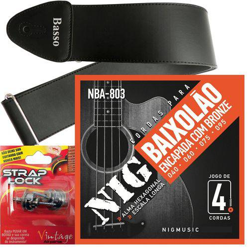 Encordoamento Nig Baixolão de 4 Cordas 040 NBA803 + Strap Lock + Correia Basso