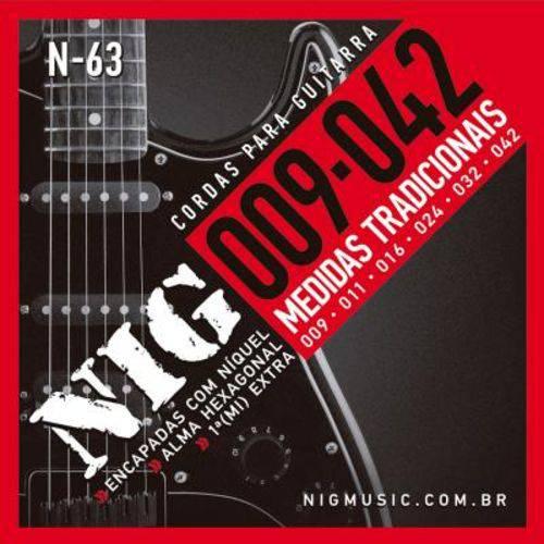 """Encordoamento Nig para Guitarra N-63 - 0.09""""/.042"""""""