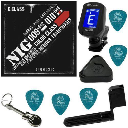 Encordoamento P/ Guitarra 010 046 Nig Color Class Vermelho N1641 + Kit IZ2