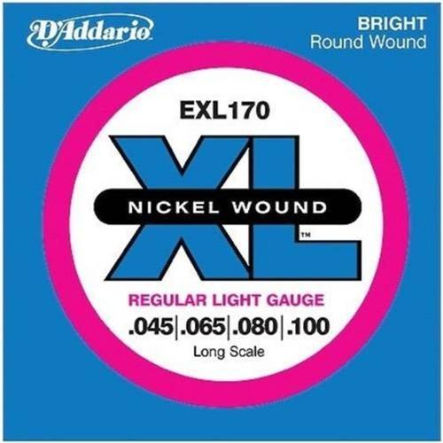 Encordoamento para Baixo Elétrico 4 Cordas Exl170 Regular Light Escala Longa .045 .065 .080 .100 D a