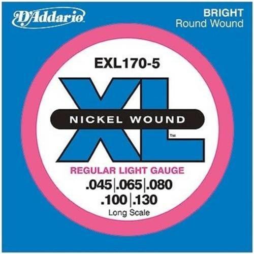 Encordoamento para Baixo Elétrico 5cordas Exl170-5 Regular Light Escala Longa .045.065.080.100.130 D