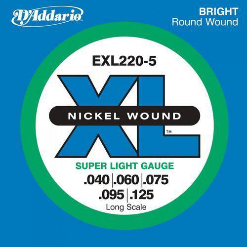 Encordoamento para Contra Baixo Exl220 5 Cordas 0.40 D`addario