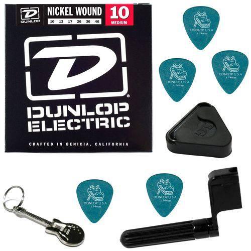 Encordoamento para Guitarra 010 046 Dunlop DEN1046 Medium + Acessórios IZ1