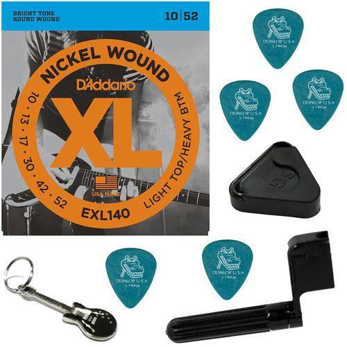 Encordoamento para Guitarra 010 052 Híbrido Daddario EXL140 + Acessórios IZ1