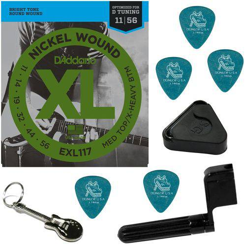 Encordoamento para Guitarra 011 056 Híbrido Daddario EXL117 + Acessórios IZ1