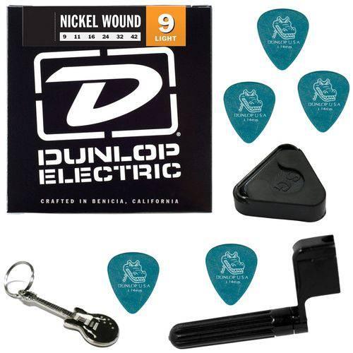 Encordoamento para Guitarra 09 042 Dunlop DEN0942 Light + Acessórios IZ1