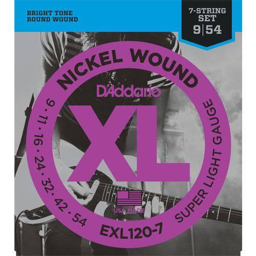Encordoamento para Guitarra de 7 Cordas 09 Daddario EXL120-7