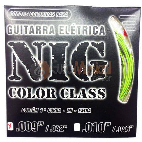 Encordoamento para Guitarra Nig Color Class N1634 Verde .009/042