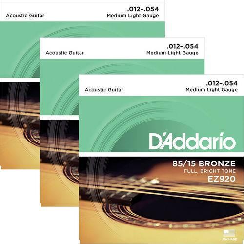 Encordoamento para Violão Aço 012 D'addario 85/15 Bronze EZ920 - 03 Unidades
