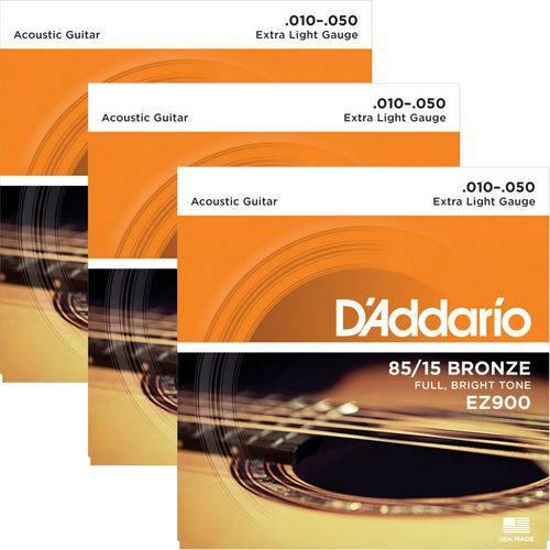 Encordoamento para Violão Aço 010 D'addario 85/15 Bronze EZ900 - 03 Unidades