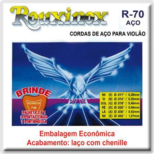 Encordoamento para Violão Aço 011 com Chenilha Rouxinol R-70