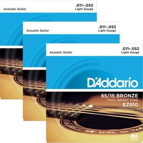 Encordoamento para Violão Aço 011 D'addario 85/15 Bronze EZ910 - 03 Unidades