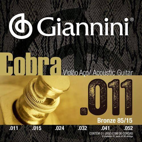 Encordoamento para Violão Aço com Bolinha, Série Cobra, Revestimento Bronze 85/15 0.011-0.052 - Geeflk - Giannini