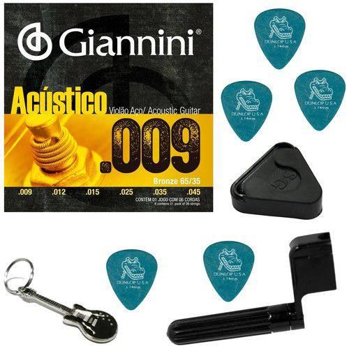 Encordoamento para Violão Aço Giannini 09 045 GESWAL + Acessórios IZ1