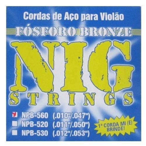 Encordoamento para Violão Aço NIG NPB-560 Fósforo Bronze (.010-.047)
