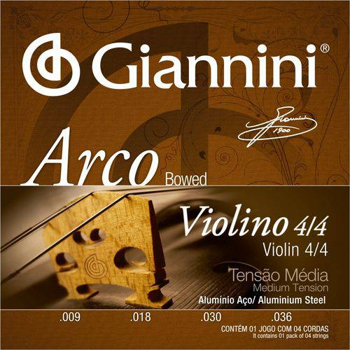 Encordoamento para Violino 4/4 Giannini Tensão Média GEAVVA