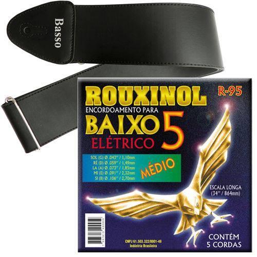 Encordoamento Rouxinol Baixo 5 Cordas 043 106 R95 + Correia Basso