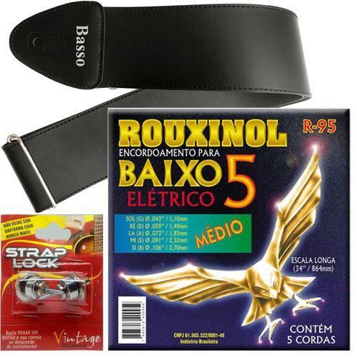 Encordoamento Rouxinol Baixo 5 Cordas 043 106 R95 + Strap Lock + Correia Basso