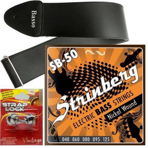 Encordoamento Strinberg Baixo 5 Cordas 040 125 SB50 + Strap Lock + Correia Basso