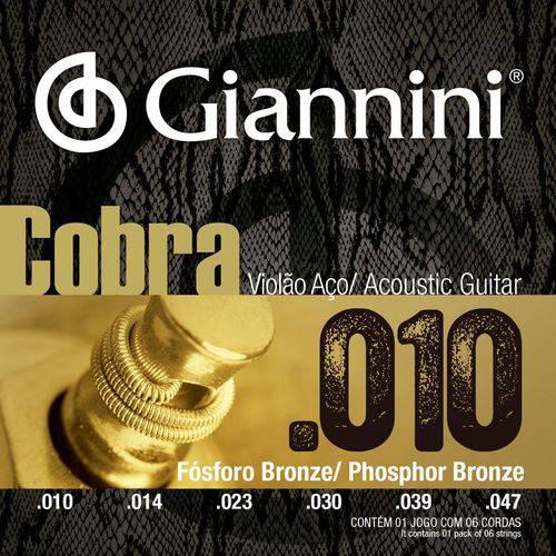 Encordoamento Violão Aço com Bolinha, Série Cobra, Revestimento Bronze Fosforoso 0.010-0.047 - Geeflef - Giannini