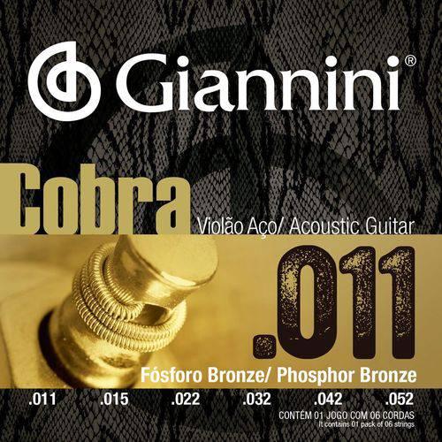 Encordoamento Violão Aço com Bolinha, Série Cobra, Revestimento Bronze Fosforoso 0.011-0.052 - Geeflkf - Giannini