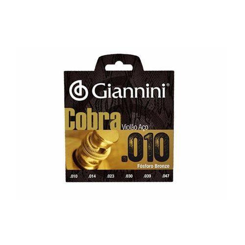 Encordoamento Violão Aço Giannini Geeflef Fósforo Bronze 010