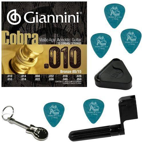 Encordoamento Violão de 12 Cordas Giannini Cobra 010 GEEF12M + Acessórios IZ1