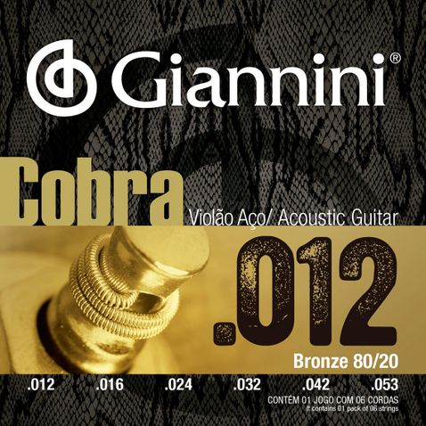 Encordoamento Violao Giannini Ca82l Bronze 80/20 Light 0.012