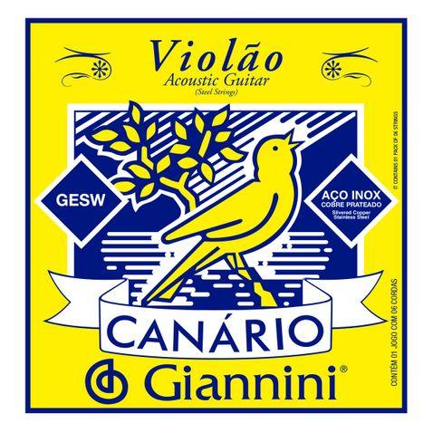 Encordoamento Violao Giannini Gesw C/ Chenilha Aço Canário