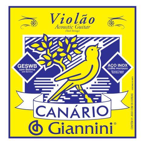 Encordoamento Violao Giannini Geswb C/ Bolinha Aço Canário