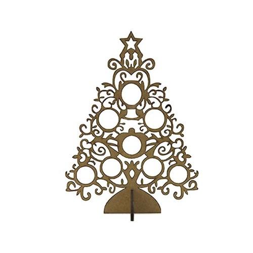 Enfeite de Mesa em MDF Árvore de Natal Círculos 19x14x6cm - Palácio da Arte
