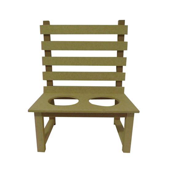 Enfeite de Parede Cadeira Floreira 2 Furos - MDF