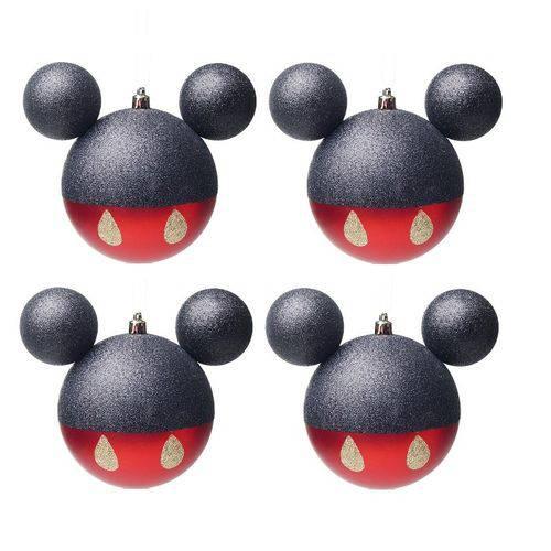 Enfeites de Natal Disney Bola Calça Mickey - Pack com 4 Bolas 8cm