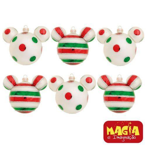 Enfeites de Natal Disney Bola Candy Mickey - Pack com 6 Bolas 6cm