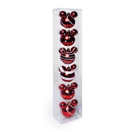 Enfeites de Natal Disney Bola Candy Vermelha Mickey - Pack com 6 Bolas 6cm