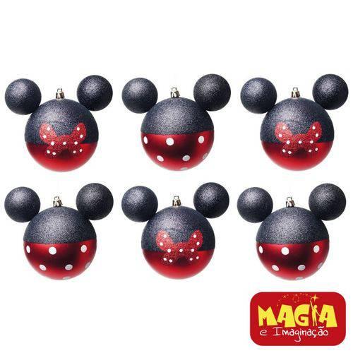 Enfeites de Natal Disney Bola Laços e Poás Minnie - Pack com 6 Bolas 6cm