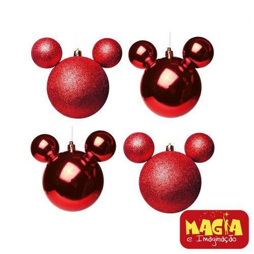 Enfeites de Natal Disney Bola Vermelha Mickey - Pack com 4 Bolas 8cm