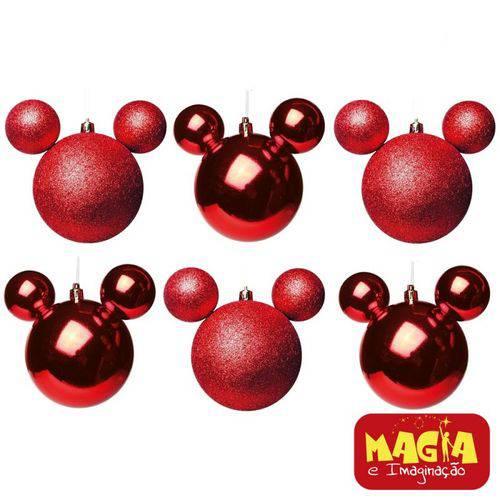 Enfeites de Natal Disney Bola Vermelha Mickey - Pack com 6 Bolas 6cm