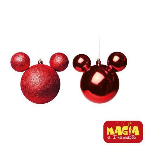 Enfeites de Natal Disney Vermelha Mickey - Pack com 2 Bolas 10cm