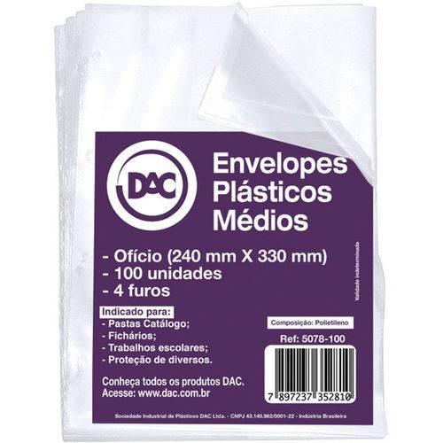Envelope Plastico Oficio 4Furos Grosso 0,15Mm Pct.C/100 Dac
