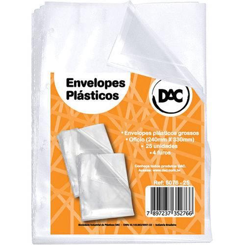 Envelope Plastico Oficio 4Furos Grosso 0,15Mm Pct.C/25 Dac