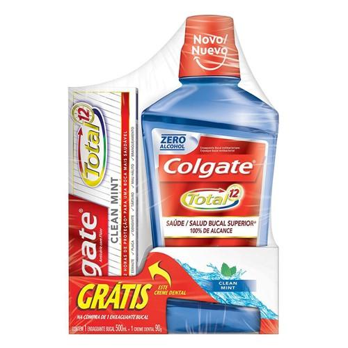 Enxaguante Bucal Colgate Total 12 Clean Mint Sem Álcool 500ml + Grátis 1 Creme Dental Sortido